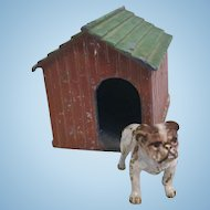Miniature Vienna Bronze Bulldog Puppy and Dog House