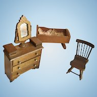 Dollhouse Furnishings Vanity Rocking Chair and Cradle