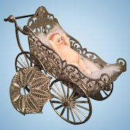 Metal Miniature Dollhouse Baby Buggy