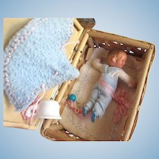Baby Boy Doll in Basket with Accessories