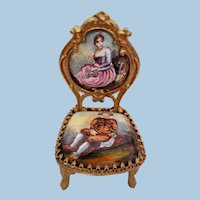 French Vienna Enamel Miniature Chair