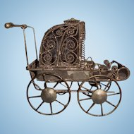 Miniature Metal Filigree Baby Buggy