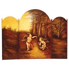 Antique Handpainted Fireplace Screen with Cherubs