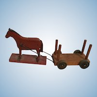 Old Wooden Miniature Toy Horse and Cart