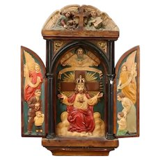Very Old Large German Religious Shrine or Altar