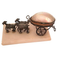 Goats Pulling Mother of Pearl Egg Cart