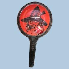 Halloween Tin Litho Witch Noisemaker Clacker