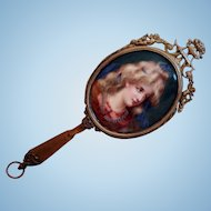 Fantastic Victorian Handpainted Lady Portrait Hand Mirror