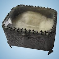 French Metal and Beveled Glass Jewelry Casket
