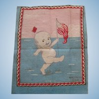 Pair - Americana Kewpie and Skating Kewpie Cigar Felt Cloths