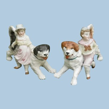 Bisque Figurine Pair of Children and Dogs