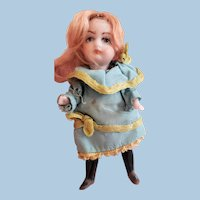 Tiny Lilliputian Swivel Neck All Bisque Doll