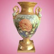 Huge Limoges Handpainted Vase with Figural Handles