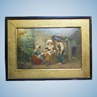 Lovely Large Antique Framed Paper Lithograph Scene of Children