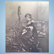 Lithopane of Lady Spinning Yarn with her Cat