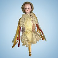 German Bisque Head Marotte Musical Doll