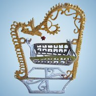 Dollhouse Miniature Metal Swinging Baby Cradle