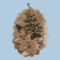 Mica coated Christmas cutout Ornament with Scrap Lithograph