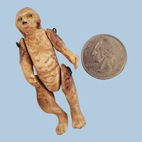 Rare Miniature Jointed Bisque Monkey