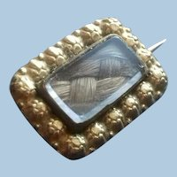 Victorian Mourning Jewelry Pin with Woven Hair