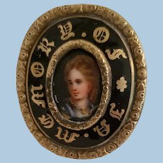 Mourning Pin with Porcelain Handpainted Portrait
