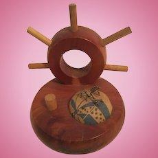 Nautical Ship's Wheel Thread & Thimble Holder and Pincushion