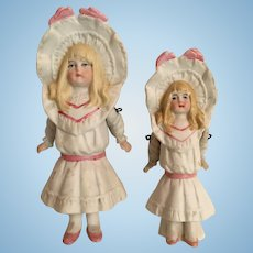 Darling Pair of Bonnet Dolls