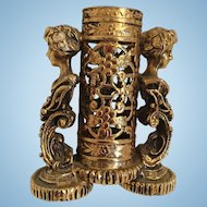 Gold Tone Metal Perfume Holder with Lady Busts