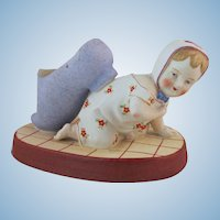 Sweet Pincushion Bisque Doll Crawling Baby