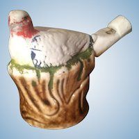 Staffordshire Pottery Early Nesting Bird Figural Toy Whistle