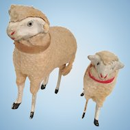 Pair of Putz Sheep for Nativity