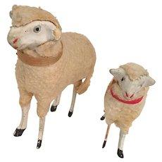 Pair of Putz Sheep for Nativity
