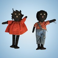 Very Old Tiny Rag Doll Pair