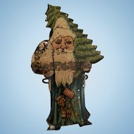 Tin Litho Santa Claus Christmas Tree Clip