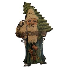 Tin Litho Santa Claus Christmas Tree Clip