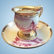 Gorgeous French Sevres Cup & Saucer Handpainted