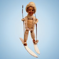 German Skiing Boy Christmas Figurine