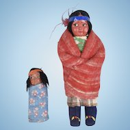 Woman and Baby Indian Skookum Dolls