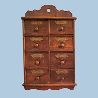 Old Wall Spice Cabinet Eight Drawers