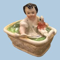 Staffordshire Girl with Doll Match Striker Box