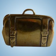 Brass Suitcase Figural Match Safe Vesta