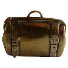 Brass Suitcase Figural Match Safe Vesta
