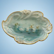 Unmarked RS Prussia Swimming Swans Dish
