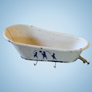 Very Old Toy Tin Bath Tub for Doll House Scene