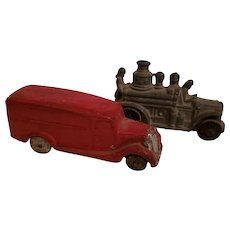 Toy Firetruck and Paddywagon