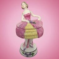 Doll Figural Vanity Powder Puff Box or Trinket Box