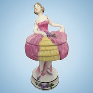 Doll Figural Vanity Powder Puff Box or Trinket Box
