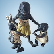 Miniature Vienna Bronze Black Family Figurine
