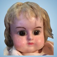 Gorgeous Glass Eyed Wax over Paper Mache Doll