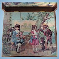 Victorian Lithograph Print Wooden Puzzle Blocks